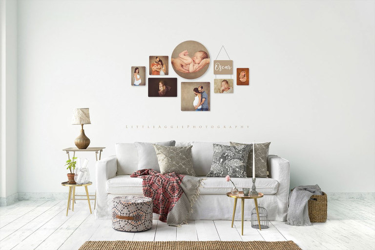 Wooden blocks collagfe on a white wall above sitting area